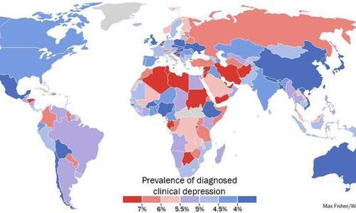 Поразительная карта уровня депрессии в мире